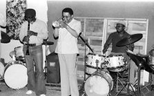 John Carter, clarinet; Bobby Bradford, cornet; Stanley Crouch, drums -- Sunday afternoon jam session at Little Big Horn -- April 24, 1977 -- photo by Mark Weber