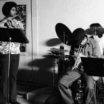 Vinny Golia, tenor sax; Bobby Bradford, cornet; James Newton, flute; Kim Calkins, drumset -- most probable date: April 17, 1977 -- workshop jam session at Little Big Horn -- photo by Mark Weber