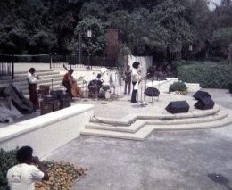 Stanley Crouch's Black Music Infinity -- wobbly photo taken with a Brownie camera -- May 17, 1975 -- Claremont Colleges, California -- James Newton, flute; David Murray, tenor saxophone; Bobby Bradford, cornet; Roberto Miranda, bass; Stanley, drumset -- photo by Mark Weber