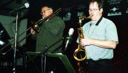 Bobby Bradford Mo'tet -- April 12, 2004 -- Outpost Performance Space, Albuquerque, USA -- Michael Vlatkovich, trombone; Chuck Manning, tenor saxophone -- photo by Mark Weber
