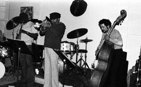 William Jeffrey, drums; John Carter, clarinet; Bobby Bradford, cornet; Roberto Miranda, bass -- November 28, 1976 -- photo by Mark Weber