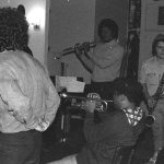 Sunday afternoon jam session at The Little Big Horn -- November 28, 1976 -- Glenn Ferris, trombone (his back to camera); Bobby Bradford, cornet; Roberto Miranda & Richard Rehwald, basses; Vinny Golia, bass clarinet; James Newton, flute -- photo by Mark Weber