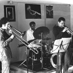 Richard Rehwald, bass; Glenn Ferris, trombone; John Goldsmith, drums; Bobby Bradford, cornet; Clovis Bordeaux, Rhodes piano -- Little Big Horn -- September 12, 1976 -- photo by Mark Weber