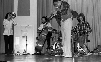 "Bobby Bradford Extet -- February 25, 1977 -- Pitzer College, Claremont, California -- Glenn Ferris, trombone; Kim Calkins, drums; Roberto Miranda, bass; Bobby Bradford, cornet -- photo by Mark Weber -- an excellent recording of this event exists, recorded by Bruce Bidlack on 10 1/2"" reels and 4 tracks!"