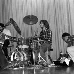 Bobby Bradford Extet -- February 25, 1977 -- Pitzer College, Claremont, California -- Glenn Ferris, trombone; Kim Calkins, drums; Roberto Miranda, bass; Bobby Bradford, cornet -- photo by Mark Weber