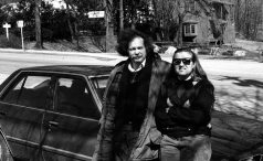 Ed Sanders & Janet outside Duey's Cafe, Woodstock, NY -- March 10, 1989 -- Ed had recently stayed at our apartment in Cleveland while he was there during the Days Of Rain & Fire d.a. levy celebration (October 7-9, 1988) and so we stopped by his place in Woodstock on one of our road trips to say Hi -- photo by Mark Weber