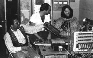 Bobby Bradford, Paul Vangelisti, John Breckow -- interview at KPFK, Los Angeles -- January 14, 1977 -- photo by Mark Weber