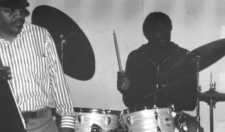 Charles Hall on drums at Little Big Horn jam session -- January 2, 1977 -- photo by Mark Weber