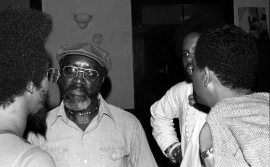 Lester Bowie, John Carter, unknown, Bobby Bradford -- June 25, 1976 -- Studio Z on Slauson Avenue, Los Angeles -- at Art Ensemble of Chicago performance during a heat wave on the Coast -- photo by Mark Weber