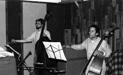 Mark Dresser and Roberto Miranda listen to playbacks during LOST IN L.A. session -- June 7, 1983 -- photo by Mark Weber