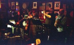 This is one of my favorite photos of Bobby Bradford Mo'tet in action -- we have a print of it sitting on the piano here at 725 -- Don Preston, Chris Garcia, Michael Vlatkovich, Ken Rosser, Chuck Manning, Bobby Bradford, Roberto Miranda -- February 1, 2008 at Cafe 322, Sierra Madre, California -- photo by Mark Weber