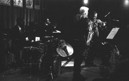 Bobby Bradford Mo'tet -- April 21, 1995 -- Outpost Performance Space, Albuquerque -- Vinny Golia, reeds; Bobby Bradford, cornet; William Jeffrey, drums; Roberto Miranda, bass -- photo by Mark Weber -- I remember after this gig that William explained to me that the raised stage also acts like a drum, I never forgot that