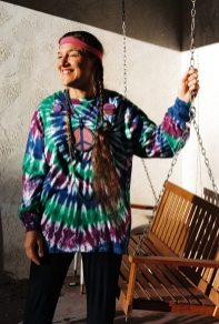 Janet having a flashback -- except, I don't think she was ever a hippie? -- Halloween, October 31, 1997 -- on our front porch in Albuquerque -- photo by her ex-hippie husband