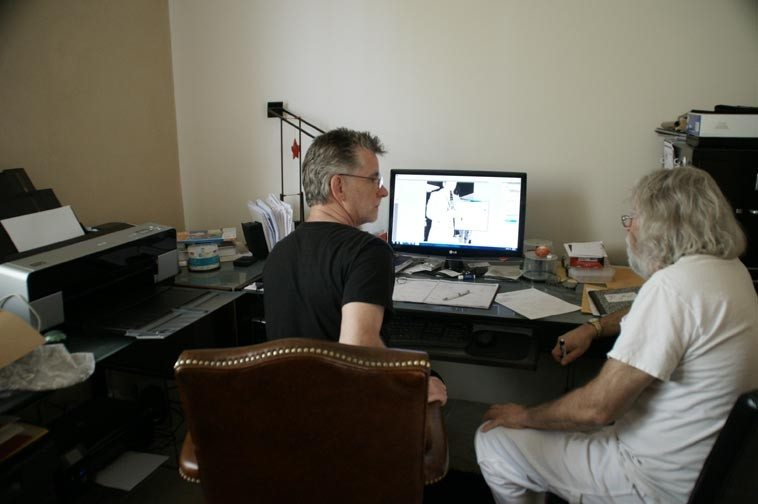 Cal Haines studio in Santa Fe -- note the printer off to Cal's left that we used -- you can see Art Pepper with clarinet on the screen -- May 27, 2013 -- photo by Victoria Rogers