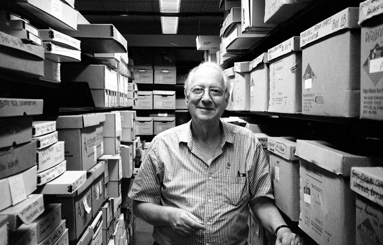 Dan Morgenstern in the stacks at Institute of Jazz Studies, Rutgers University, Newark, New Jersey -- one of the great scholars and gentlemen of jazz and a literate exquisite historian -- August 9, 2011 -- photo by Mark Weber