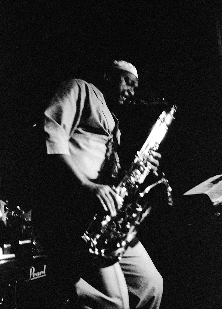 These two shots of George Adams were without flash, Tri-X exposed at 1600 ASA -- most of the quartet (Don Pullen, Dannie Richmond, Cameron Brown) were in the dark -- Village Vanguard -- March 7, 1987 -- photo by Mark Weber