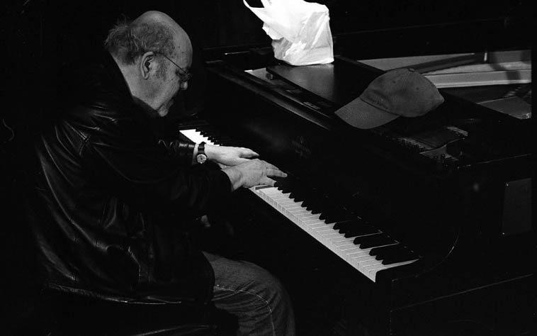 Misha Mengelberg at the Outpost Steinway --  soundcheck/rehearsal -- March 23, 2006 -- photo by Mark Weber