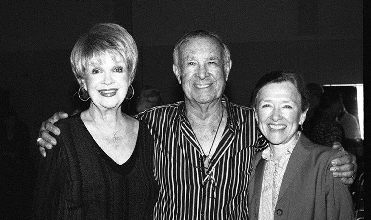 Sue Raney, Gene Merlino, Melissa Mackay, three of the five L.A. Voices (John Bahler lives and works in Branson, Missouri, alas, L.A. is a long drive) -- May 31, 2o14 in the presentation hall of Local 47 Musician's Union, Hollywood, for Med Flory's Memorial (Med was the bass in L.A. Voices, a group he formed to accompany his Supersax on their last 3 albums, works of such chimerical evanescence and luminosity their voices are like a diaphanous curtain into another world -- photograph by Mark Weber -- I was sitting with Marty Morgan and had asked if she'd introduce me to Sue Raney, and while I photo'd Sue suddenly over the P.A. comes Supersax + L.A. Voices ( ! ) and Sue tells me that Gene Merlino and Melissa Mackay are there, and next thing I know there they are in front me and they're singing along with their transcendent recordings! It doesn't get any better than this, Med! --- This photo was after The Jazz Wave, Med's big band, under the direction of Lanny Morgan had played -- Los Angeles at its best