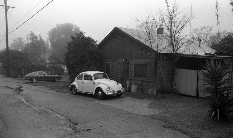 """I lived in this alley house 1972-1985 --  this photo by me circa 1981 on a foggy day, Southern California gets those dense pea soup fog coverings ---- Frank Zappa has an extended work """"Little House I Used to Live In"""" and it always reminds me of my little house at 400 1/2 Laurel Avenue, Upland, about 40 miles east of downtown Los Angeles"""