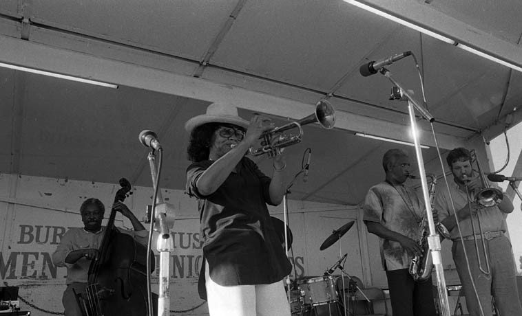Clora Bryant with the Teddy Edwards Sextet + Ernie Andrews -- Watts Towers Jazz Festival -- July 5, 1980 ---- photo by Mark Weber ---- Leroy Vinnegar, bass; Fred Carter, trombone; Teddy Edwards, tenor saxophone; Art Hillary, piano; Clarence Johnston, drums; Clora, is another transplanted Texan to California, she was all over the Central Avenue scene of the 40s & 50s, also played The Lighthouse back  then, and w/ Charlie Parker, a graduate of UCLA, and the International Sweethearts of Rhythm, a smoking bop trumpeter who retained much of the swing-era feel in her jump