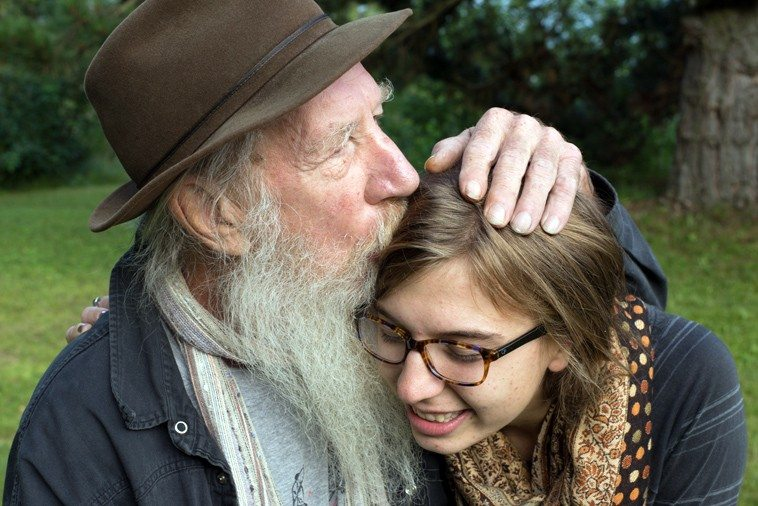The great drummer Tox Drohar with his granddaughter Anna Diorio in Switzerland in the mountains near Sion ---- July 2o14 ---- photo by Jean-Christophe Chouillet --- (Tox lives in Lyon, France these days)