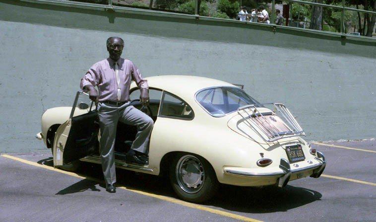 John Carter and his yellow 1963 bathtub Porsche -- June 16, 1984 Hollywood Bowl -- photo by Mark Weber