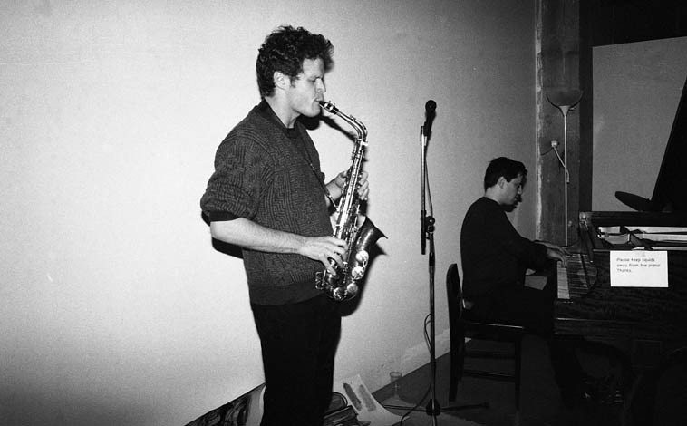 Nick Lyons and Tom Thorndike (Tom has been studying with Connie about  2 years) amazing -- free improvisation -- November 16, 2o14 -- photo by Mark Weber