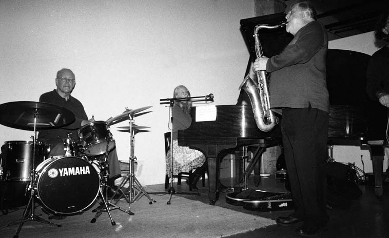 Kazzrie Jaxen Quartet -- November 16, 2o14 -- Bill Chattin (note: these are his cymbals but  not his drums); Kazzrie, piano; Charley Krachy, tenor; Don Messina, bass -- photo by Mark Weber