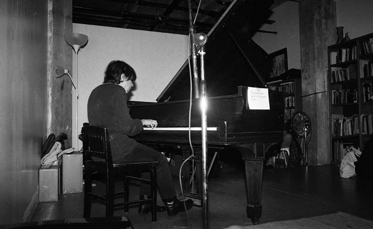 Virg Dzuriniko on Connie's piano -- November 16, 2o14 -- photo by Mark Weber