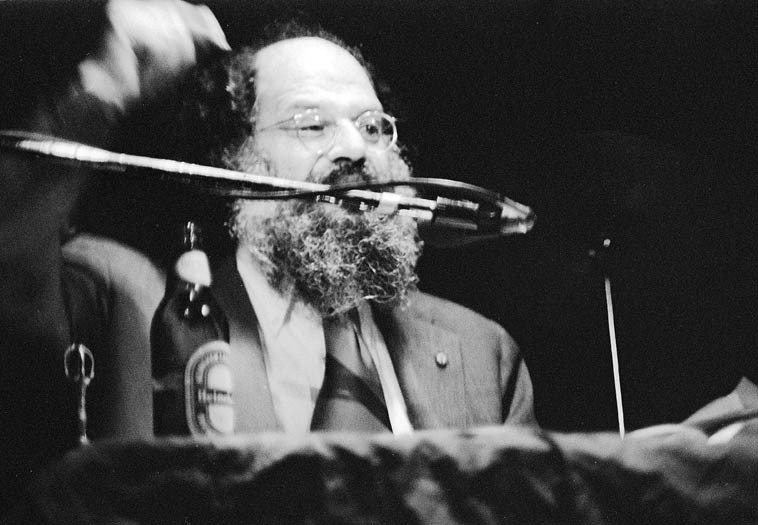 Allen Ginsberg reading at The Troubadour, Los Angeles -- January 25, 1977 -- photo by Mark Weber ---- I miss Allen Ginsberg.  More correctly: I miss knowing that Allen Ginsberg is alive and out there in the world somewhere being Allen Ginsberg -- He was a brave & valiant (and crazy) man -- As in: Crazy, baby