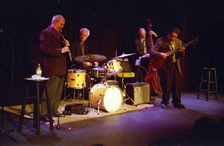 Kenny Davern - Howard Alden Quartet -- December 2, 2002 -- Outpost Performance Space,  Albuquerque -- David Parlato, bass; Andy Poling, drums ---- photo by Mark Weber