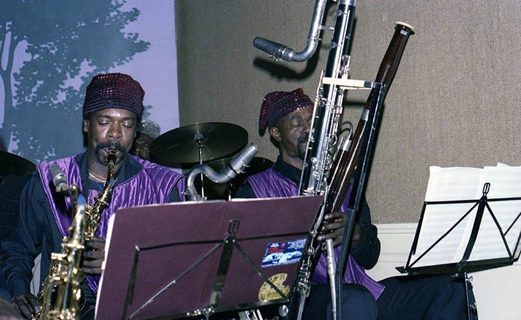 Danny Davis and James Jacson -- December 4, 1985 ---- photo by Mark Weber ---- after this  concert I interviewed Sun Ra for it seems over an hour (the recording was being done by KPFA  and the two young guys I relieved might have been John & Peter Hinds of Sun Ra Research -- I've  always wanted to find a copy of that . . . )