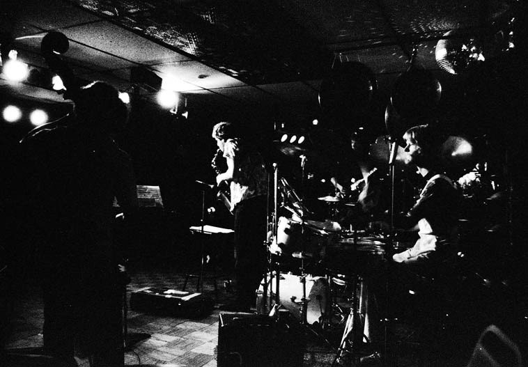 Tim Berne Quartet ---- February 17, 1981 somewhere in Hollywood ---- Nels Cline, guitar; Roberto  Miranda, bass; Alex Cline, drumset; Tim Berne, alto saxophone ---- photo by Mark Weber -- I believe  this is when Nels got his first Stratocaster . . . .