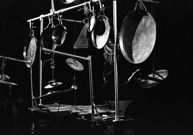 Leo Smith and his percussion in solo performance at Century City Playhouse, Los Angeles --  March 16, 1977 -- photo by Mark Weber