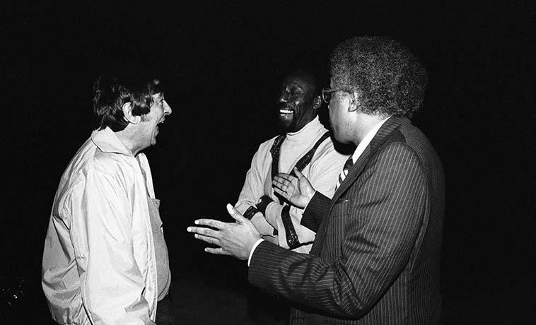 Chuck Niles, Bruno Carr, Dolo Coker ------ a jazz disk jockey, a drummer, and a pianist -- Los Angeles -- December 28, 1980 -- photo by Mark Weber