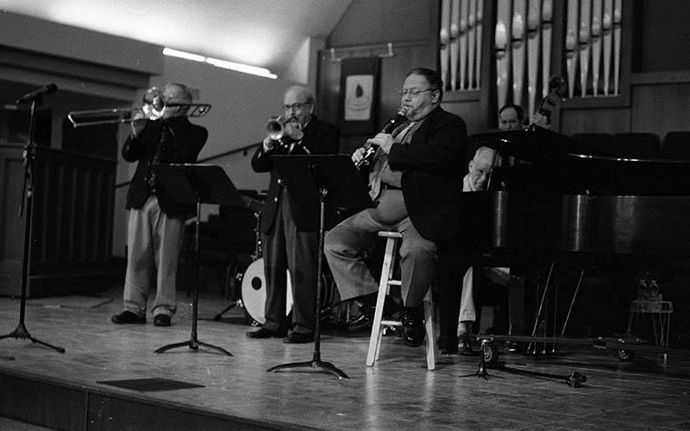 Jim Cullum Jazz Band in Albuquerque ( ! ) -- September 13, 2o15 at St John's Methodist Church -- Jim Cullum, cornet; Allan Vache, clarinet; the great John Sheridan, piano; Phil Flanigan, bass; Mike Pittsley, trombone; Kevin Hess, drums -- photo by Mark Weber