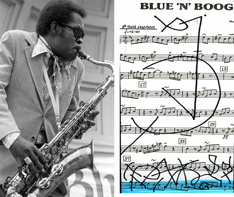 Dr Wild Willie Moore -- San Francisco Blues Festival -- August 12, 1978 -- photo & squiggle by Mark Weber