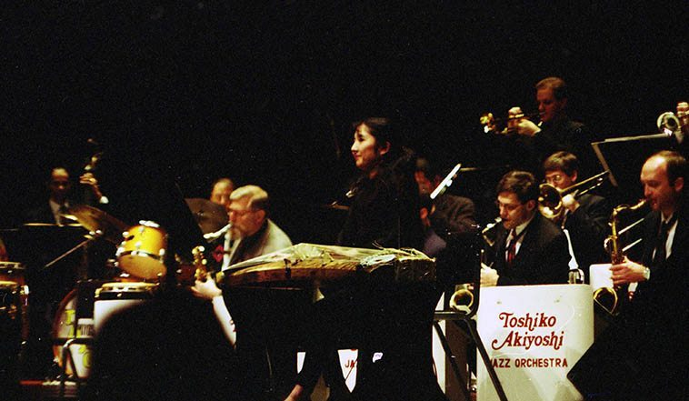 Miya Masaoka (koto) with Toshiko Akiyoshi Big Band -- Popejoy Auditorium, University of New Mexico -- October 26, 1997 ---- photo by Mark Weber