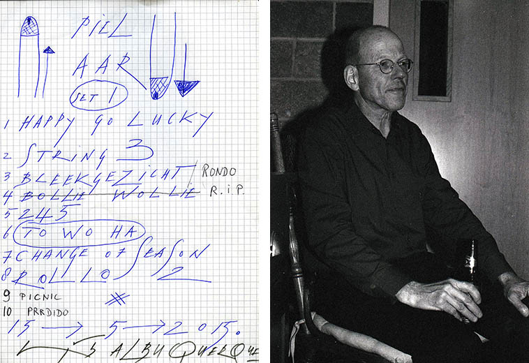 ICP Set List by Han Bennink for May 15, 2o15 at Outpost Performance Space, as pianist Guus Janssen tries a Mexican lager backstage ---- photo by Mark Weber