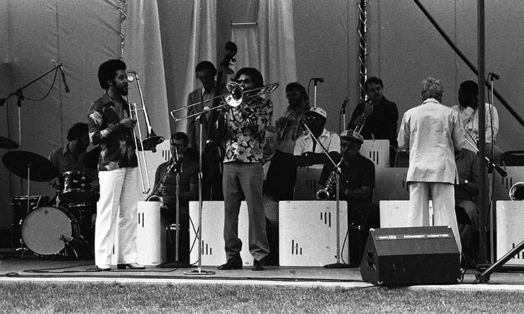 Benny Powell & Jimmy Cleveland trading 4's & 8's --Bill Berry Big Band at Bonaventure Hotel, downtown Los Angeles -- August 29, 1979 ---- photo by Mark Weber