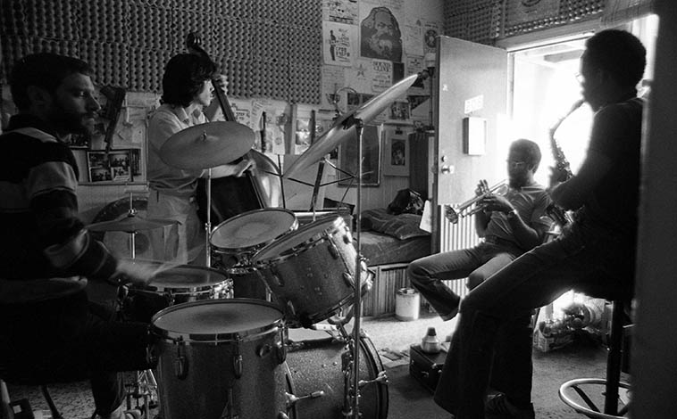 United Front in rehearsal at Carl's place ---- February 14, 1981 San Francisco ---- These guys were my hang buddies when I was back & forth those years between SF and L.A. ---- Carl Hoffman, drums; George Sams, trumpet; Lewis Jordan, alto saxophone; Mark Izu, bass ---- photo by Mark Weber