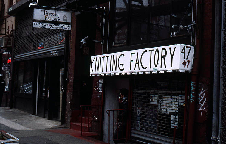 Knitting Factory at it's first location: 47 E. Houston on the Lower East Side NYC (between Bowery and Broadway) -- December 1988 -- photo by Mark Weber -- Michael Dorf's tales of these early years at this location are harrowing (google> History of the Knit) dealing with the rapacious Environmental Control Board, Con Ed, the trash pick-up, and other shakedown operations, and the photographer Raymond Ross lived above the club on the 3rd floor and was an out there kind of guy (his jazz portraits were used on ESP and many of the early Arista albums)