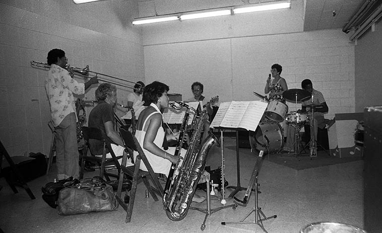 """Jimmy Cleveland Octet at Local 47 rehearsal rooms ---- photo by Mark Weber -- July 31, 1980 -- Jimmy Cleveland (trombone), Janet Cleveland (vocal), Jackie Kelso (tenor), Lanny Morgan (alto), Jim Hughart (bass), Fostina Dixon (bass clarinet & baritone sax), Ray Knehnetsky (piano & arranger), Tim Pope (drums), Bob Ojeda (trumpet) ------------ Jimmy was the coolest guy, I was hanging around the union hall that day just visiting and up drives Jimmy & Janet and I asked if I could attend the rehearsal and he said, """"Yeh, hell yeah, come on!"""""""