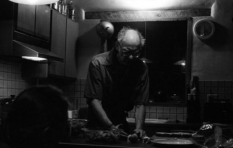 Larry Goodell makes us dinner -- His kitchen in the little mountain village of Placitas, New Mexico -- November 18, 1995 -- photo by Mark Weber