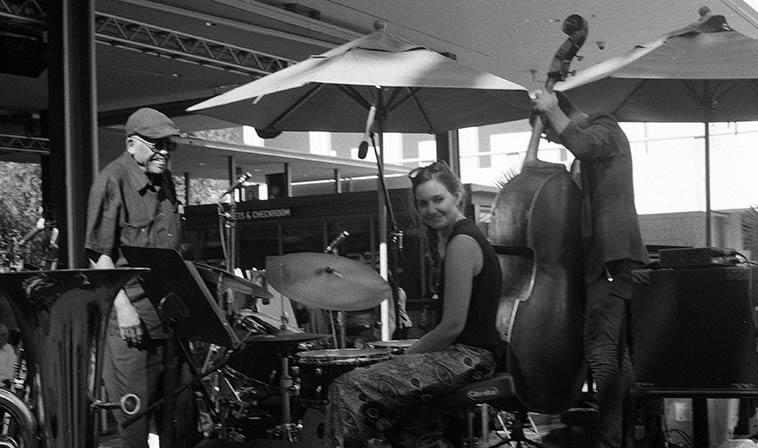 Tina Raymond, drums with Bobby Bradford's Tete-a-Tete at Los Angeles County Museum of Art -- August 14, 2o15