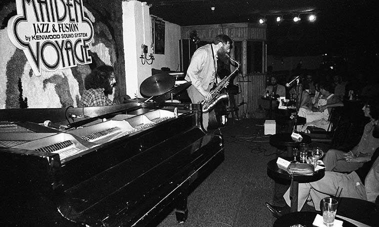 Lew Tabackin Trio: Joey Baron, drums; Charlie Haden, bass -- January 26, 1980 at Maiden Voyage-- photo by Mark Weber -- This club was on Wilshire Blvd almost right across the street from MacArthur Park and Westlake (Art Pepper did some live recordings from this club -- see his Galaxy Recordings)