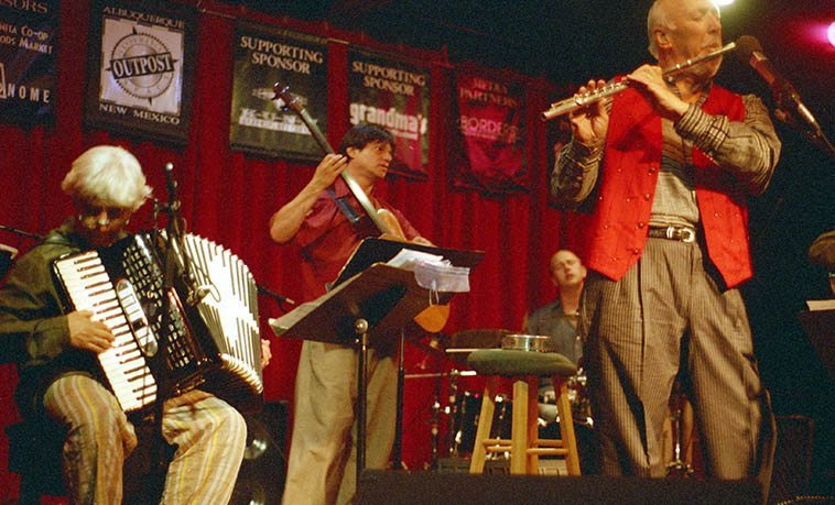 Herbie Mann & Sona Terra -- May 15, 2000 -- This was opening night for the new & present location of Outpost Performance Space, Albuquerque -- Gil Goldstein(accordion), Geoff Mann(drums), Paul Socolow(bass), Herbie(flute), Not shown: Alexander Fedoriouk(cimbalom), Bruce Dunlap(guitar)-- photo by Mark Weber