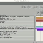 Mark: It's a little complicated because it was all done with overdubs. I do have dates on most of the tracks' comments column in screenshots of the tracks from Digital Performer [it's how I do tracksheets now], you can piece it together from them. I also have the timesheet which has some details as to what each session was. See if this helps. If there is something still not clear, I can go into the individual audio files & see the dates when 1st recorded. Goodbye [AKA Cloudknitters] came from another project recorded 4-23-14, mixed 9-29-14 -WP Wayne Peet / Killzone Music-Newzone Studio / Los Angeles newzonestudio.com