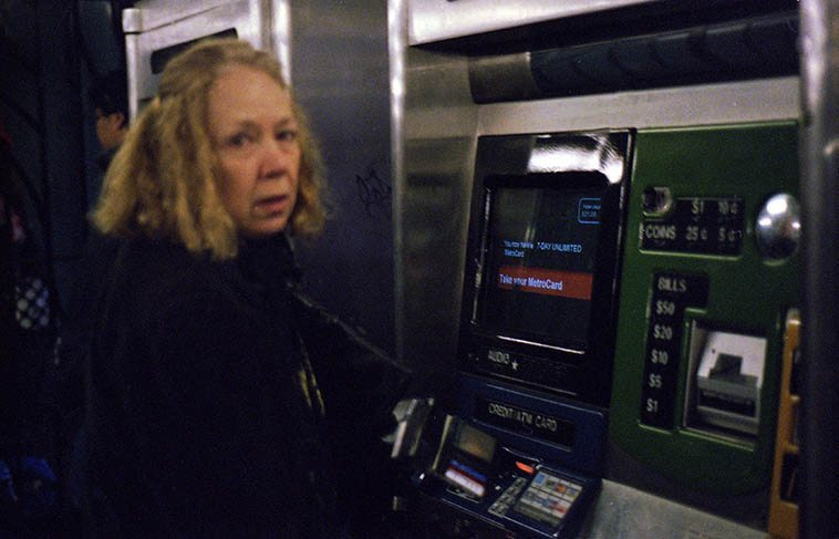 Connie Crothers -- New York City subway -- December 7, 2004 -- photo by Mark Weber