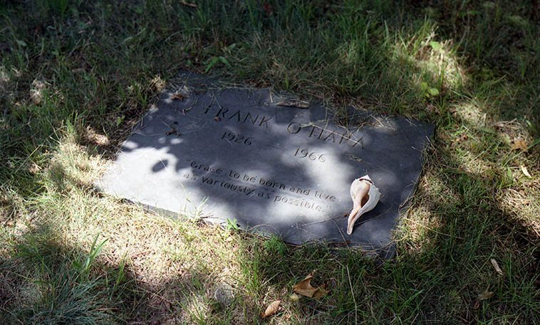 One of America's great poets -- Green River Cemetery, East Hampton, Long Island NY -- July 5, 1997 -- photo by Mark Weber -- His immediacy and spontaneous everydayness and even his off-handed jottings were popping with reality -- Frank O'Hara's LUNCH POEMS were a big influence on all of us bohos that followed after him